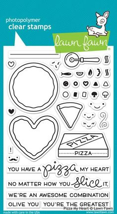 A - Lawn Fawn - Pizza My Heart Stamp Set