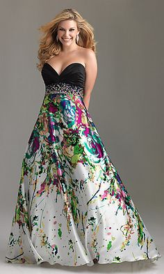cfe901d71 Strapless Sweetheart Print Plus Size Dress $438 Crazy print! Like it Night  Moves, Prom