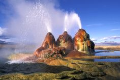 Spewing scalding water in all directions, the aptly named Fly Geyser sits about 10 miles from the site of Burning Man, the annual countercul...