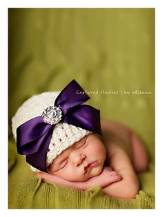 Organic Cotton Beanie Hat - Ivory with Royal Purple Satin Bow and Rhinestone - Fancy Newborn Photo Prop on Etsy, $32.00