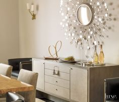 Contemporary Beige Dining Room Console
