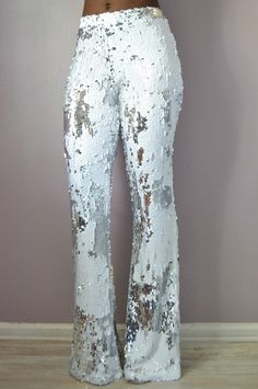White Sequin Flare Pants by DanielaTabois on Etsy https://www.etsy.com/listing/235293051/white-sequin-flare-pants
