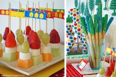 Lego Fruit table, make space banners instead, maybe fruit rockets
