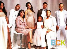 """The Simmons family are featured in the May edition of Ebony magazine. Although every family member of Run's House is photographed looking his or her best, special emphasis is placed on Justine Simmons, Rev Run Simmons' current wife, and Valerie Vaughn, Run's first wife, as they co-parent the clan together.  Pictured are Vanessa (28), Angela (24), Joseph Jr. """"JoJo"""" (22), Daniel """"Diggy"""" (17) , Russell """"Russy"""" (15), Miley Simmons(4), Valerie Vaughn, and Justine Simmons."""