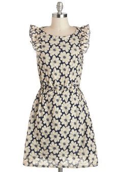 Daily Darling Dress - Blue, Tan / Cream, Casual, A-line, Cap Sleeves, Mid-length, Floral, Crochet, Ruffles
