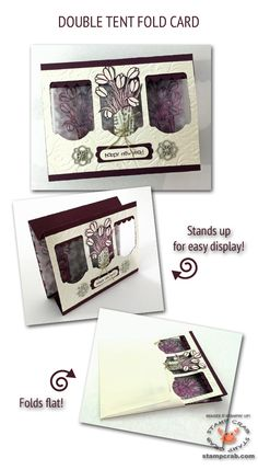 Here's a Double Tent Fold Card featuring items from Stampin' Up!'s 2015 Occasions Catalog including the Love is Kindness Stamp (137131), Painted Blooms Designer Series Paper (137784), and Something Borrowed Embellishments (137855)! Cardstock colors are Blackberry Bliss (133675) & Very Vanilla (101650). YouTube tutorial by Stamp Crab.