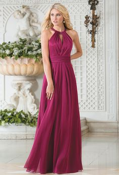 Brides: Belsoie by Jasmine. A stylish and chic option for your bridesmaids. This Belsoie Tiffany Chiffon dress features a halter neckline, an A-line skirt, ruching in the bodice, and beading along the neckline.
