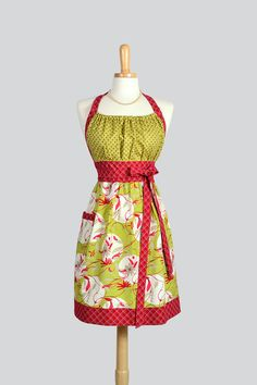 Cute Kitsch Retro Apron - Handmade Full Womens Chef Apron in Free Spirit Gypsy Red and Green Floral