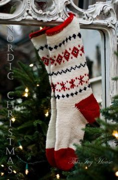Hand knitted Nordic stocking