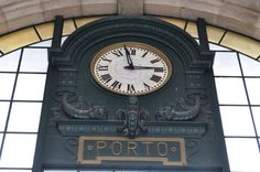 Train station in Port Bento, Train Station, Clock, Photography, Porto Portugal, Terra, Travel Tips, Port Wine, Bucket List Travel