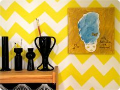 Yellow and white chevron...I want my kitchen to look like this!