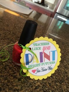Some more teacher gift ideas. love the nail polish one in particular! Change from a Teacher gift to anyone. Teacher Treats, School Treats, School Gifts, Teacher Gifts, Daycare Gifts, Teacher Humor, School Teacher, Simple Gifts, Easy Gifts