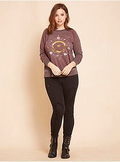 """They say full moons bring the good vibes; uhh, we're pretty sure this sweatshirt does. The burgundy burnout knit looks like it's from another time (aka vintage-inspired) while the celestial metallic graphics up front got us howling.<div><br></div><div><b>Model is 5'11"""", size 1<br></b><div><ul><li style=""""LIST-STYLE-POSITION: outside !important; LIST-STYLE-TYPE: disc !important"""">Size 1 measures 27 3/4"""" from shoulder</li><li style=""""LIST-STYLE-POSITION: outside !important; LIST-STYLE..."""