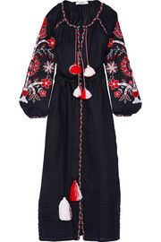 Poppy embroidered linen maxi dress