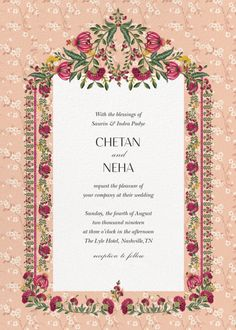 Anita Dongre Collaborates With Paperless Post To Launch Beautiful Bespoke Digital Invitations This Wedding Season! Indian Wedding Invitation Cards, Wedding Invitation Background, Wedding Invitation Card Design, Indian Wedding Cards, Vintage Wedding Invitations, Printable Wedding Invitations, Digital Invitations, Wedding Stationery, Wedding Card Design Indian