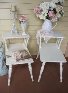 Shabby Chic White End tables Pair of End Stands by Fannypippin