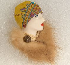 LADY+HEAD+FACE+Porcelain-Look+Resin+Brooch+Pin+Figural+Flapper+Mink+fur+Handmade+#Handmade+#BroochPin