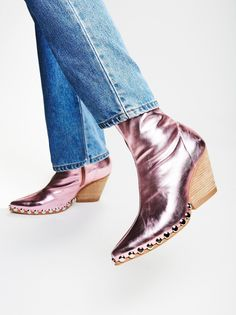 Jagger Boot Ultra sleek and cool ankle boot with a slim fit through the leg and a pointed toe design. Features stud accents along the foot. Acne Studios, Shoe Boots, Ankle Boots, Tall Boots, Women's Shoes, Metallic Boots, How To Stretch Boots, Casual Fall, Jeffrey Campbell