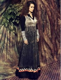 Black Partywear Embroidered Anarkali Suit