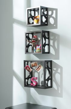 Very cool shelves!  - You could diy with pvc slices and wood trim...or TP rolls & cardboard boxes!!