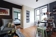 Mark's Delightful (and Delicious!) West Village Home. A deep, dark blue can work; set it off with high-gloss white trim, esp by the windows.