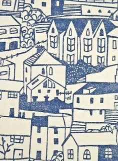 St Ives Wallpaper White wallpaper with busy, playful townscape illustration in blue.
