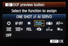 Handy article on how to change DOF button on Mark iii to ai servo instead  Quickly toggle Ai Servo Focus on the Canon 5D Mark III - Digital Photography School
