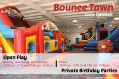 The New Bounce Town in Canton Things That Bounce, Birthday Parties, Play, Note, Birthday Celebrations