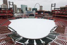 Busch Stadium in winter