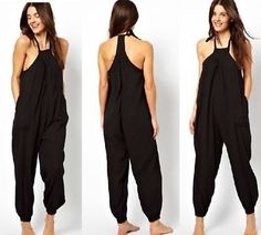 sexy womens loose harem pants black sleeveless jumpsuit stylish pants suits new in Clothes, Shoes & Accessories, Women's Clothing, Jumpsuits & Playsuits | eBay