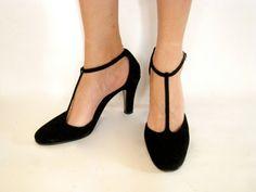 Spain Black High Heel T strap Shoes 6 65  by JessPlusCoutureSwim, $120.00