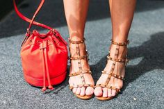 Valentino Rockstud Taup Sandals l Mini Red Bucket Bag is on sale for only $24! Shop it at www.fitnessandfrills.com