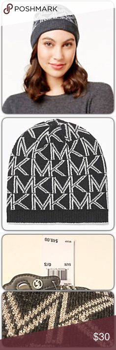 MK Michael Kors Logo Gray Metallic Beanie Hat Just found your perfect beanie! Michael Kors MK Logo hat in heather gray with silver metallic threading. NWT - Classic Michael Kors Accessories Hats