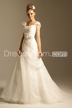 Amazing A-line Square Cap-Sleeves Floor-length Chapel Pick-up Wedding Dresses