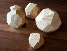 Faceted wood sculptures