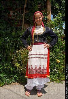 Woman in traditional costume, Lassithi Plateau, Crete, Greece