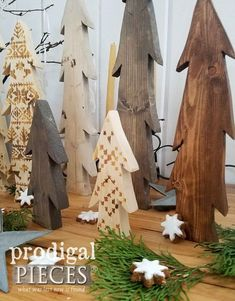 DIY Wooden Trees with Nordic Wood Burned Design by Larissa of Prodigal Pieces | Tutorial at prodigalpieces.com