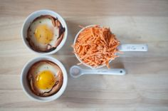 Super easy and very healthy idea for dinner tonight - try this 4 ingredient turkey egg cup, paleo and gluten free (turkey + eggs + sweet potato + salt). Lightly coat two ramekins with a tiny bit of coconut oil (I use the...