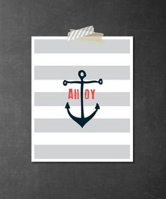 nautical anchor art print in navy coral and gray 8x10 by armommy, $15.00