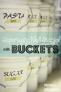 Learn how to package food properly with buckets and mylar bags so it will last 30+ years. www.Prepared-Hous... #foodstorage #buckets #mylarbags