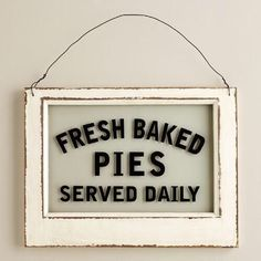Fresh Baked Pies Sign Glass Wood Decor Bakery Sign Vintage Kitchen Diner Sign in Art, Direct from the Artist, Folk Art & Primitives | eBay