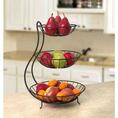 Spectrum Diversified Yumi Arched 3 Tier Server Spectrum D. 3 Tier Server, Tiered Fruit Basket, Kitchen Dining, Kitchen Decor, Fruit Stands, Iron Furniture, Iron Decor, Kitchen Organization, Kitchen Accessories