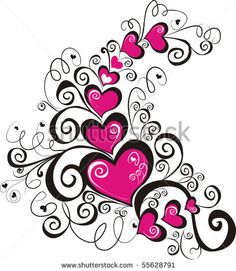 beautiful heart with floral ornament, Element for design, vector image by Marina99, via ShutterStock