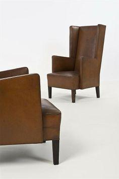 Uno Åhrén and Björn Trägårdh Attributed; Leather Armchairs for Nordiska Kompaniet, 1930s.