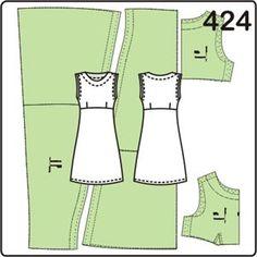выкройка трикотажного платья без рукавов длиной до колена
