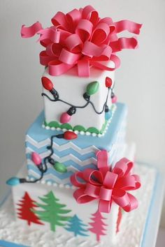 different color combination Christmas cake