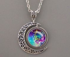 Nebula necklace,Rosette Nebula Necklace Moon charm from MyArtDream by DaWanda.com