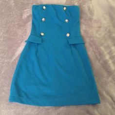 *Hp* Blue Sailor Looking Strapless Dress