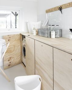 home kitchen ideas Laundry Room Design, Laundry In Bathroom, Laundry Room Inspiration, Home Decor Inspiration, Plywood House, Küchen Design, Home Hacks, Home And Living, Storage Spaces