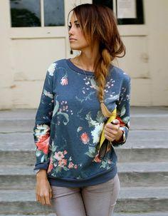 $7.38Fashion Ladies Women Plus Casual Long Sleeve Floral Loose Leisure Sports Tops Hoodie Sweatshirt